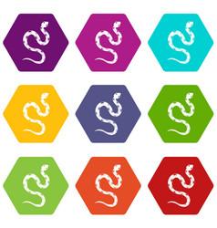 Venomous snake icon set color hexahedron vector