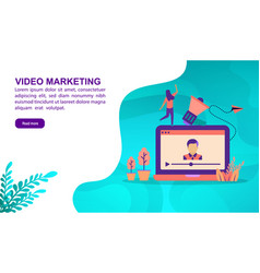 video marketing concept with character template vector image