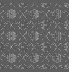 viking seamless pattern with axes and shields vector image