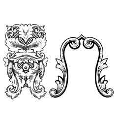 Vintage floral wood print decorative elements vector image