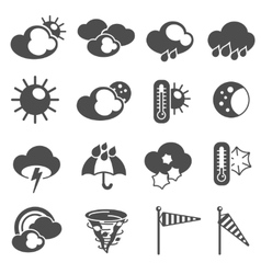 Weather forecast symbols icons set black vector image