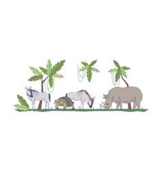 Wildlife semi flat rgb color vector