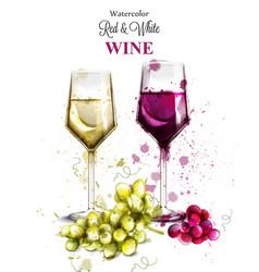 Wine glasses watercolor vintage painted vector