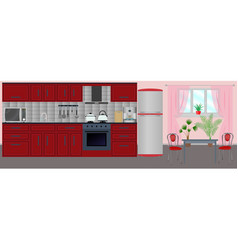 kitchen interior in the flat style with furniture vector image