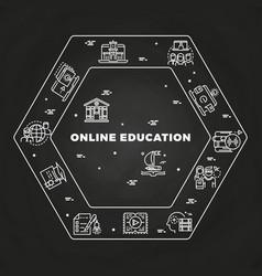 online education line art concept on blackboard vector image