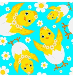 Seamless Pattern with Chicks Eggs and Daisies vector image vector image
