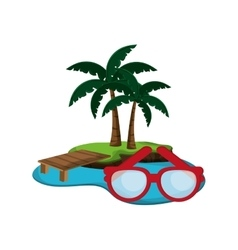 tropical island and glasses icon vector image