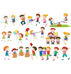 Children playing different games and activities vector image vector image