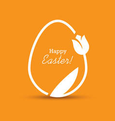 easter greeting card with egg and tulip vector image vector image