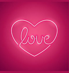 love neon sign pink vector image vector image