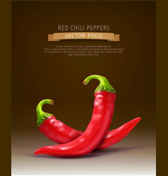two red hot chilli peppers isolated on a brown vector image vector image