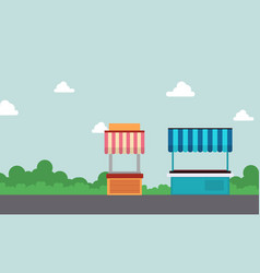 collection of street stall design landscape vector image