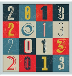 Colorful Retro Vintage 2013 New Year vector image vector image