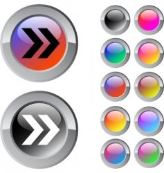 forward arrow multicolor round button vector image vector image