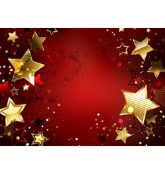 Red Background with Gold Stars vector image vector image