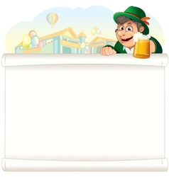 Bavarian Guy with Beer on Oktoberfest Background vector image vector image