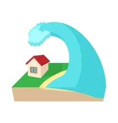 Big wave of tsunami over the house icon vector image