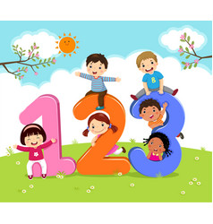 cartoon kids with 123 numbers vector image