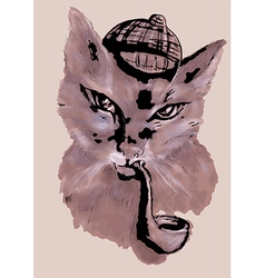 cat with tobacco pipe vector image vector image