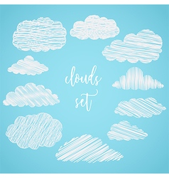 collection of scribble clouds vector image