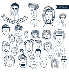 Hand-drawn people crowd doodle collection of vector