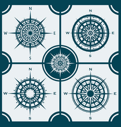 set of isolated compass roses or wind roses vector image