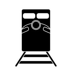 silhouette train rail road mass transit vector image