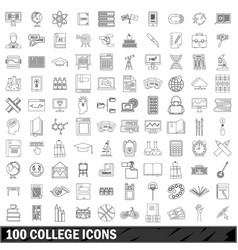 100 college icons set outline style vector