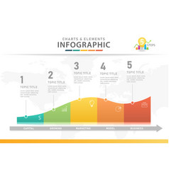 5 steps modern chart diagram with curves vector image