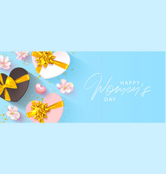 8 march happy women s day banner beautiful blue vector image