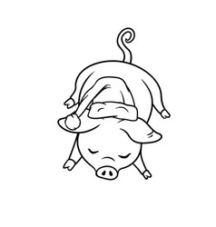 A pig with a curly tail sleeping on the floor vector