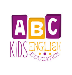 Abc english education for kids logo symbol vector
