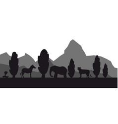 african safari animal silhouette landscape vector image