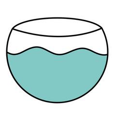 Aquarium bowl with water icon vector