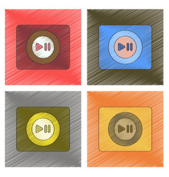 Assembly flat shading style music vector