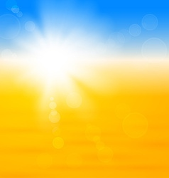 Background with shiny sun over the sand vector image