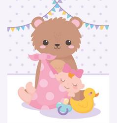 Bashower little girl teddy bear duck and vector