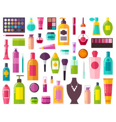 beauty means and decorative cosmetics collection vector image