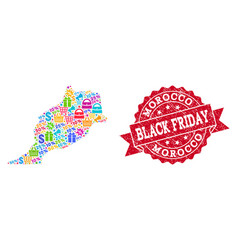 Black friday composition of mosaic map of morocco vector