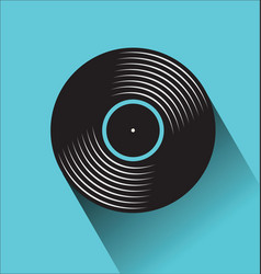 Black vinyl record disc flat concept vector