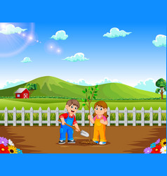 boy and girl planting tree in the park vector image