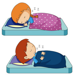 Boy and girl sleeping on bed vector