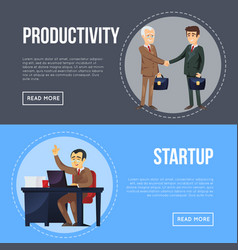 Business cooperation and partnership flyers vector
