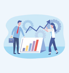 businessman and businesswoman with statistics bar vector image
