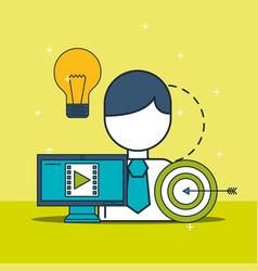 businessman computer video content target vector image