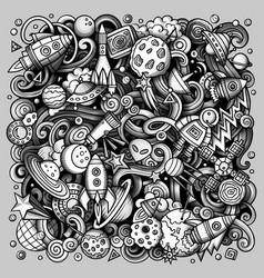 cartoon doodles space toned vector image