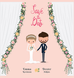 Cartoon wedding couple save the date invitation vector