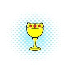 Chalice with wine icon comics style vector image