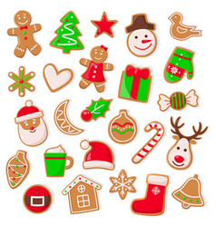 christmas and xmas design of cookies set vector image