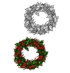 christmas wreath holly leaves isolated sketch vector image